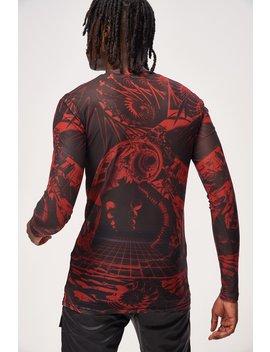 Red & Black Space Game Print Mesh Long Sleeve Top by Jaded London