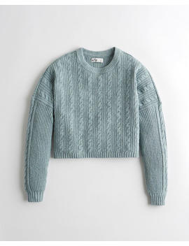 Crop Cable Crewneck Sweater by Hollister