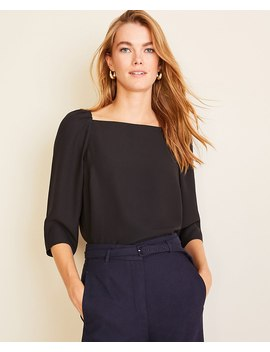 Square Neck Puff Sleeve Top by Ann Taylor