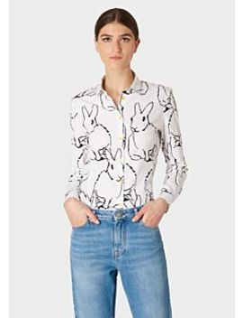 Women's Slim Fit White 'ink Lucky' Print Shirt by Paul Smith