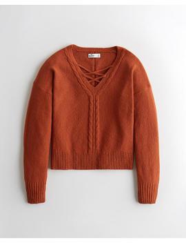 Lace Up V Neck Sweater by Hollister