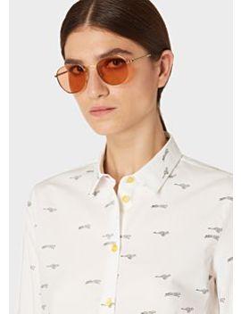 Women's Slim Fit White 'mini Cheetah' Print Cotton Shirt by Paul Smith