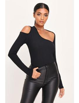 Black Extreme Cut Out Jumbo Rib Long Sleeve Bodysuit by I Saw It First