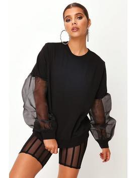 Black Black Organza Sleeve Sweat by I Saw It First