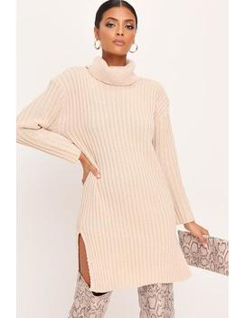 Stone Knitted Roll Neck Split Midi Dress by I Saw It First
