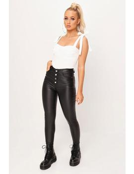 Black 5 Button Coated High Waist Jeans by I Saw It First
