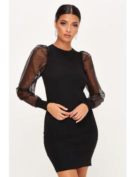 Black Organza Sleeve Knitted Dress by I Saw It First