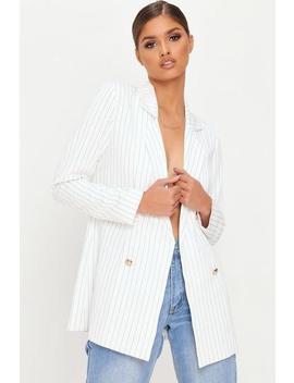 White Oversized Pinstripe Blazer by I Saw It First