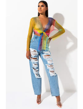 Rave It Up Rainbow Crop Top by Akira