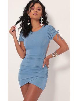 Josie Open Back Dress In Pastel Blue by Lucy In The Sky