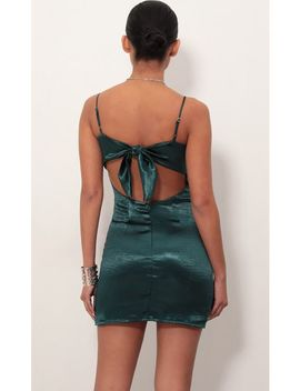 Ariel Satin Tie Back Dress In Green by Lucy In The Sky