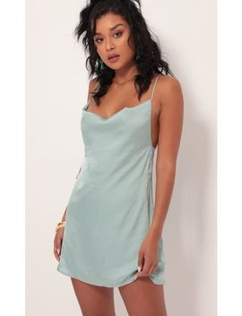 Amalfi Coast Satin Cowl Dress In Sage by Lucy In The Sky