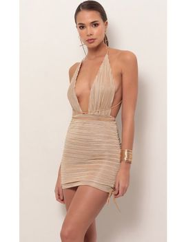 Tamara Plunge Dress In Sparkling Gold by Lucy In The Sky