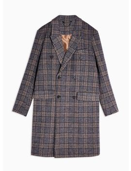 Brown And Blue Check Double Breasted Overcoat by Topman