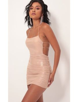 Luminescence Mesh Dress In Rose Gold by Lucy In The Sky