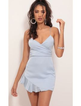 Kayden Satin Frill Dress In Dusty Blue by Lucy In The Sky