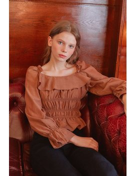 [Letter From Moon] Square Neck Ruffle Smocked Blouse In Brown by Storets