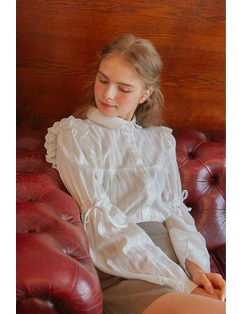 [Letter From Moon] Sheer Textured Blouse W/Flare Sleeve In Ivory by Storets