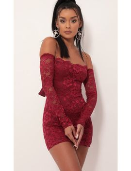 Alycia Scalloped Lace Dress In Merlot by Lucy In The Sky
