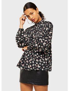 Black Rosebud Pintuck Blouse by Miss Selfridge