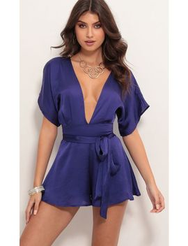 Feeling The Night Satin Romper In Blue Violet by Lucy In The Sky