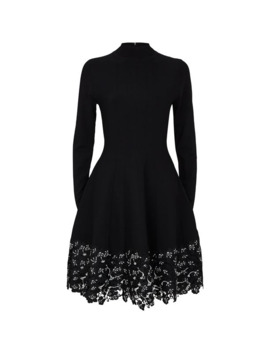 Embroidered Lace High Neck Dress by Lela Rose