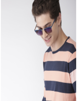 Men Peach Coloured & Navy Blue Striped Round Neck T Shirt by Mast & Harbour