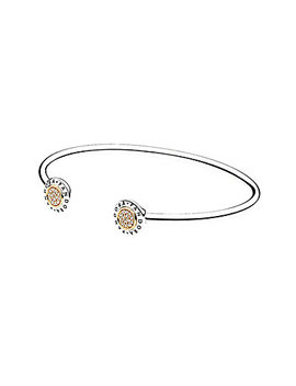 Pandora 14 K & Silver Cz Signature Bangle Bracelet by Pandora