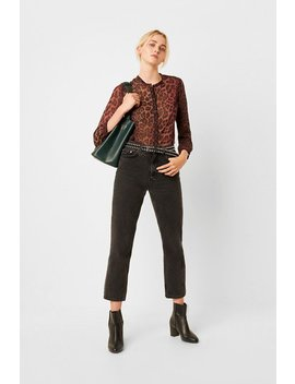 Annalia Leopard Georgette Collarless Blouse by French Connection
