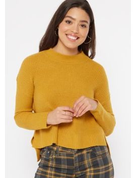 Mustard Mock Neck High Low Sweater by Rue21