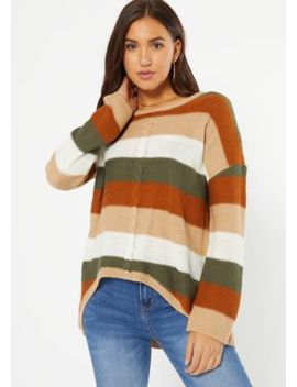 Burnt Orange Striped Cable Knit High Low Sweater by Rue21
