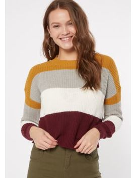Mustard Striped Fitted Sweater by Rue21