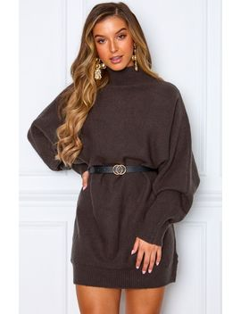 What You Want Knit Dress Dark Grey by White Fox