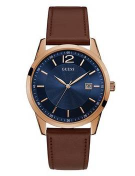 Rose Gold Tone &Amp; Brown Multifunction Watch by Guess