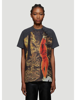Hook And Eye Printed T Shirt In Grey by Olivier Theyskens