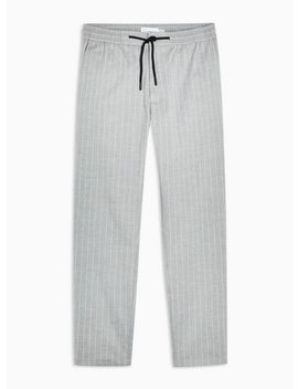 Grey And White Stretch Skinny Trousers by Topman