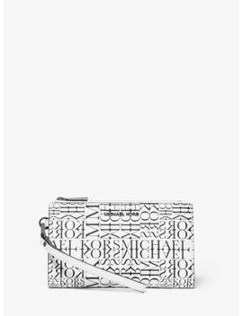 Adele Newsprint Logo Leather Smartphone Wallet by Michael Michael Kors