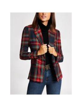 Tartan Check Blazer  Navy by River Island
