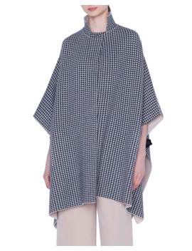 Reversible Cashmere Houndstooth Jacquard Cape by Akris