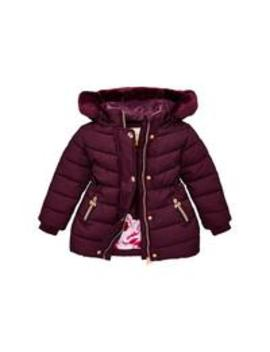 Toddler Girls Long Line Padded Coat   Wine by Baker By Ted Baker