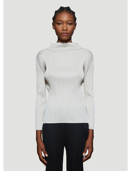 Basic Pleated Long Sleeve Top In Beige by Pleats Please Issey Miyake