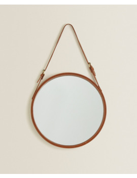 Round Leather Mirror  Mirrors   Living Room by Zara Home