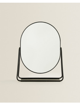Black Border Mirror With Stand  Mirrors   Living Room by Zara Home