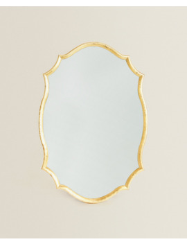 Golden Wavy Frame Mirror  Mirrors   Living Room by Zara Home