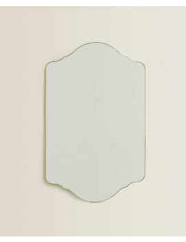 Symmetrical Gold Frame Mirror  Mirrors   Living Room by Zara Home