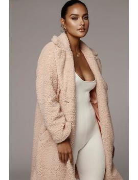 Pink Missie Faux Lamb Coat by Jluxlabel