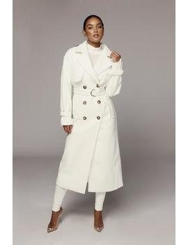 White Beverly Trench Coat by Jluxlabel