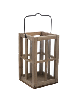 Brown Window Pane Wood Lantern by Hobby Lobby