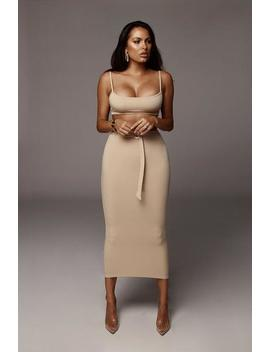 Taupe Reign Belted Set by Jluxlabel