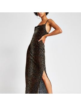 Brown Leopard Print Devore Maxi Slip Dress by River Island